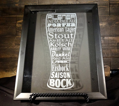 "Beer Cap Shadow Box, 8"" x 10"",  Etched Glass Pilsner Word Art"