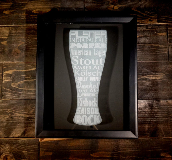 "Beer Cap Shadow Box, 8"" x 10"", Sand Carved Glass Pilsner Word Art"