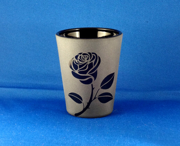 Black Rose Etched Shot Glass, Blackout Glassware