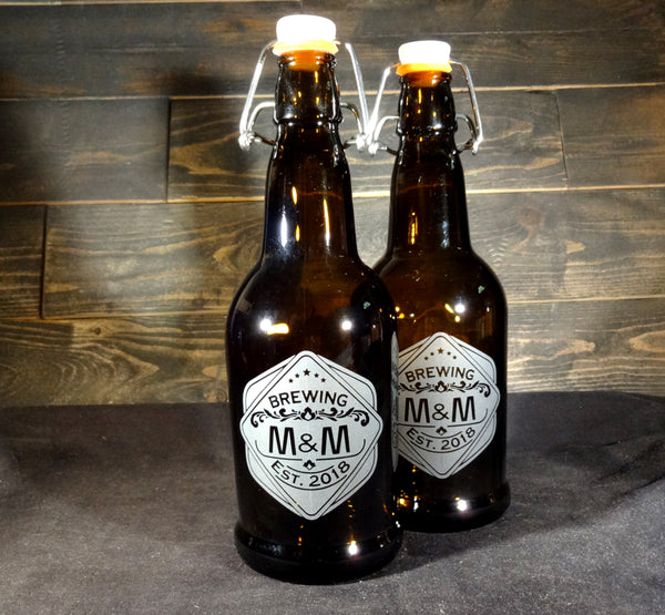 Custom Etched Grolsch Beer Bottle, Antique Craft Beer Growler