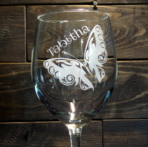 Personalized Butterfly Etched Wine Glass