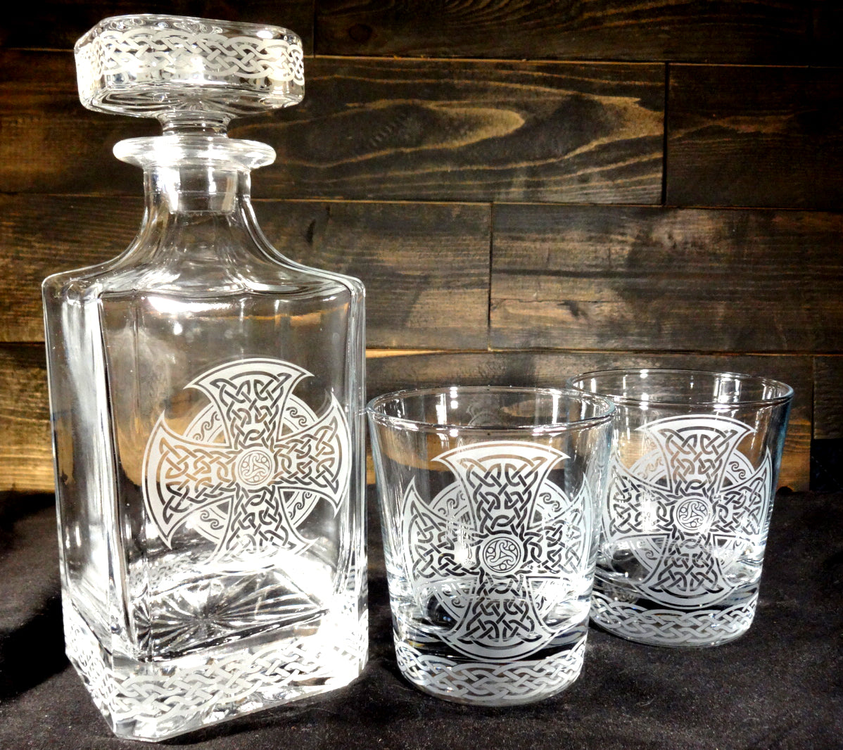Celtic Knot Etched Glass Decanter and Rocks Glasses Set