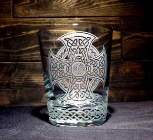 Celtic Whiskey Glass, Etched Rocks Glass, Double Old Fashion