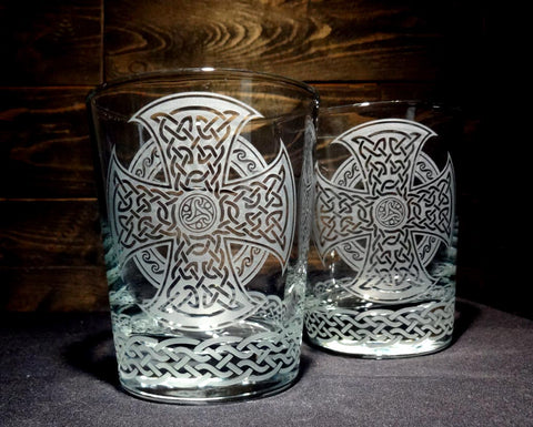 Celtic Whiskey Glass, Etched Rocks Glass, Double Old Fashion, Set of 2