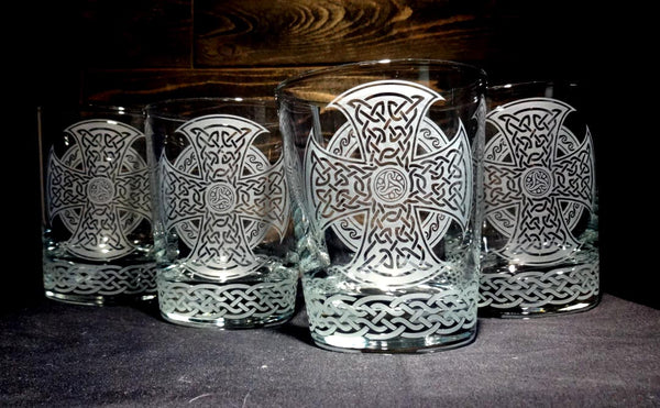 Celtic Whiskey Glass, Etched Rocks Glass, Double Old Fashion, Set of 4