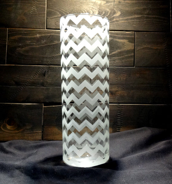 Chevron Vase, Etched Glass 10""