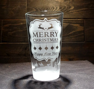 Christmas Glass Etched With Merry Christmas Happy New Year Nativity Scene