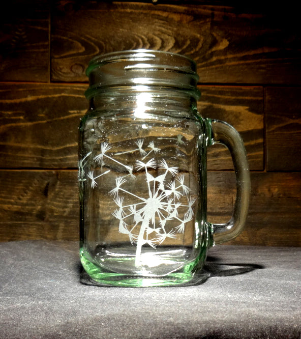 Dandelion Mason Jar Mug, Etched Glass
