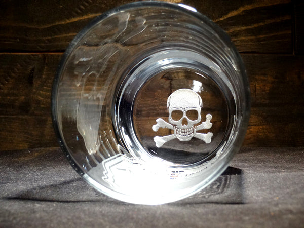 Death Wish Whiskey Etched Rocks Glass With Skull Bottom