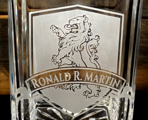Heraldic Lion Personalized Etched Crystal Decanter 750mL
