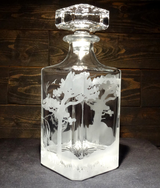 Deer Nature Scene Etched Crystal Decanter