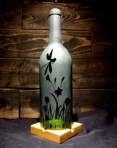 Recycled Wine Bottle Candle Shade, Etched Dragonfly Flower Design