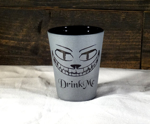 Cheshire Grin Etched Shot Glass, Blackout Glassware, Unique Black Shot Glass