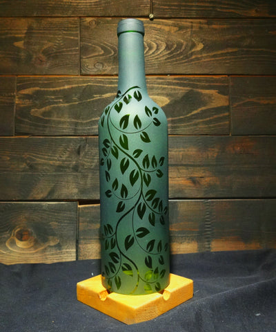 Recycled Wine Bottle Candle Shade, Etched Falling Leaf Vine Design