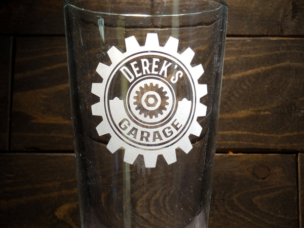 Custom Retro Garage Pint Glasses Classic Gear