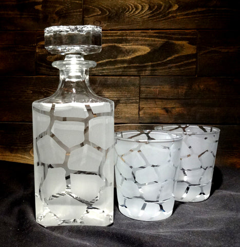 Giraffe Print Etched Glass Decanter and Rocks Glasses Set