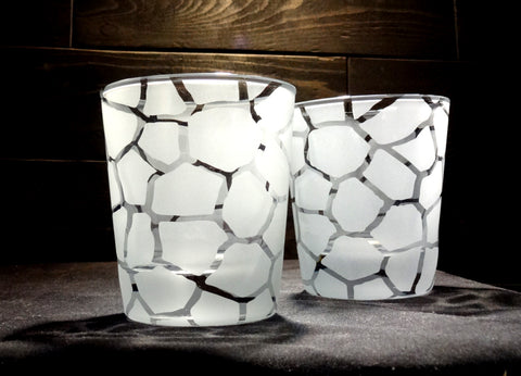 Giraffe Print Etched Rocks Glasses Set of 2