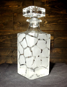 Giraffe Print Etched Crystal Decanter 750mL