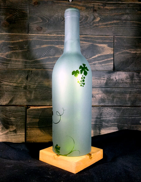 Recycled Wine Bottle Candle Shade, Etched with Grapevine Design
