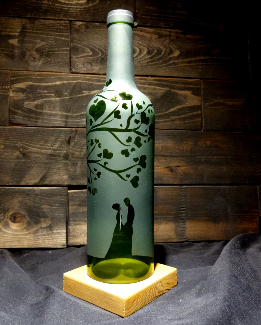 Recycled Wine Bottle Candle Shade, Heart Tree Couple Design