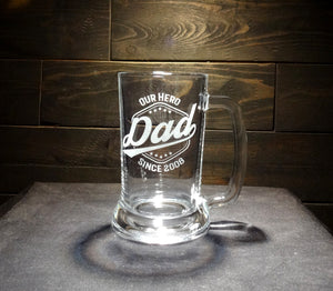 Fathers Day Beer Mug, Etched Glass, Hero Dad Label, Customized