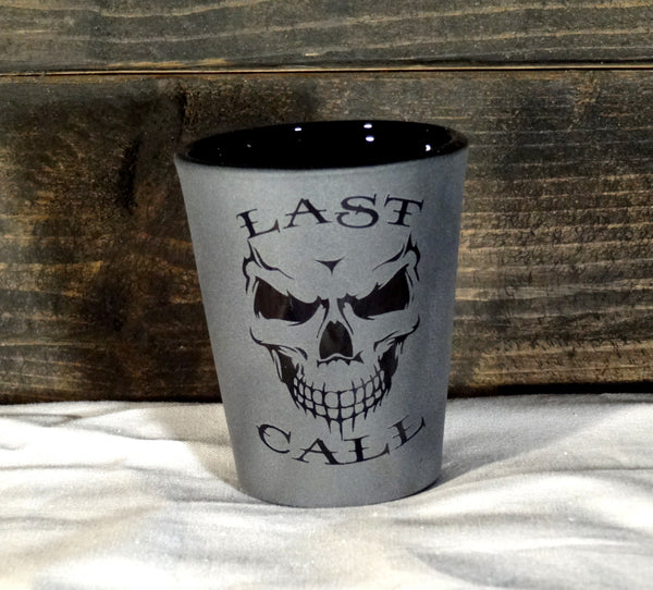 Last Call Skull Etched Shot Glass, Blackout Glassware