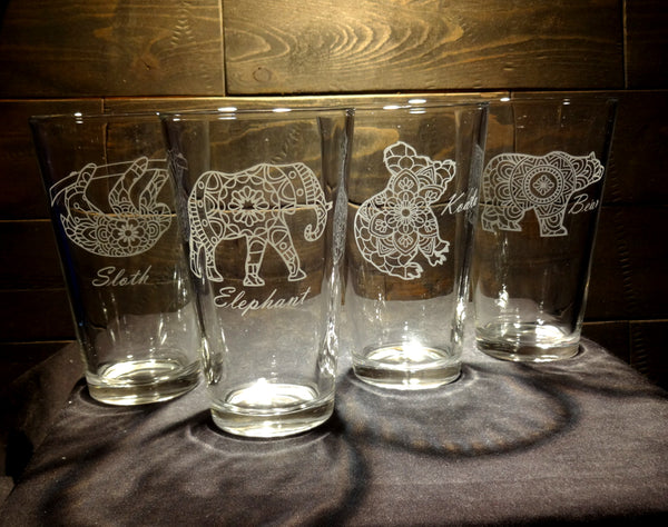 Mandala Animal Etched Glasses, Koala, Sloth, Elephant, Bear, Pint Glasses, Set of 4