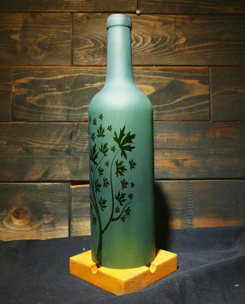 Recycled Wine Bottle Candle Shade, Etched with Leafy Tree Design