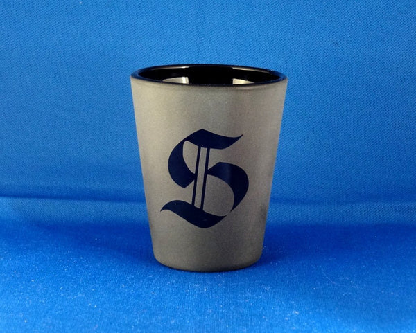 Black Gothic Monogram Etched Shot Glass, Blackout Glassware