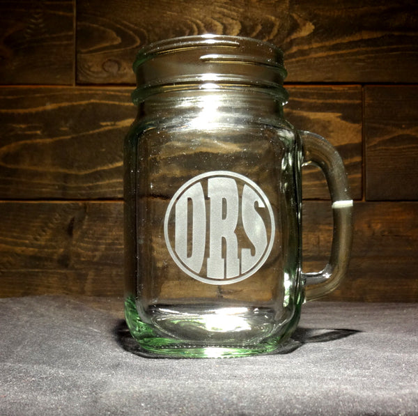 Custom Circle Monogram Mason Jar Mug, Etched Glass