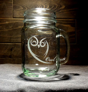 Owl Mason Jar Mug, Etched Glass