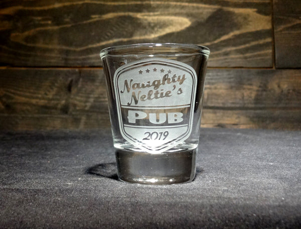Custom Shot Glass With Retro Pub Label Design