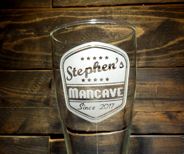 Custom Beer Growler and Pilsner Glass Set, Personalized Retro Man Cave Design, Etched Glass