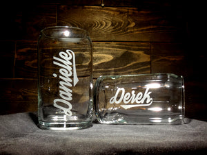 Personalized Etched Glass Can, Soda Can Style
