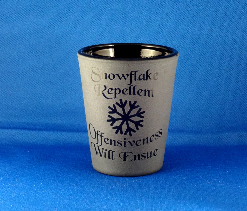 Snowflake Repellent Etched Shot Glass, Blackout Glassware, Unique Black Shot Glass