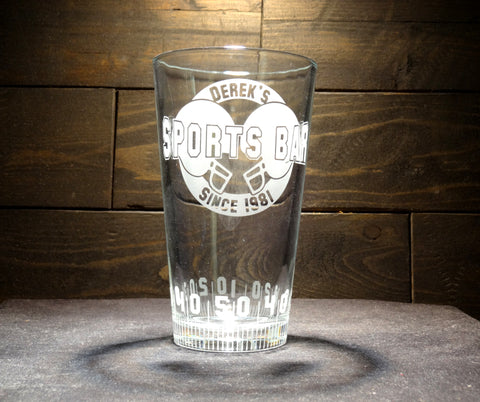 Custom Football Pint Glasses Sports Bar
