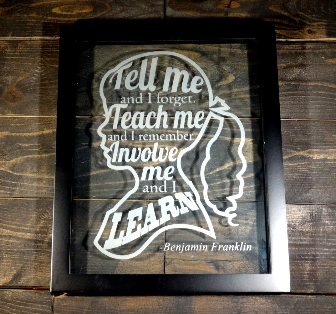 "Benjamin Franklin Educational Quote Word Art Decorative Frame, Etched Glass 8""x10"" Girl Silhouette"