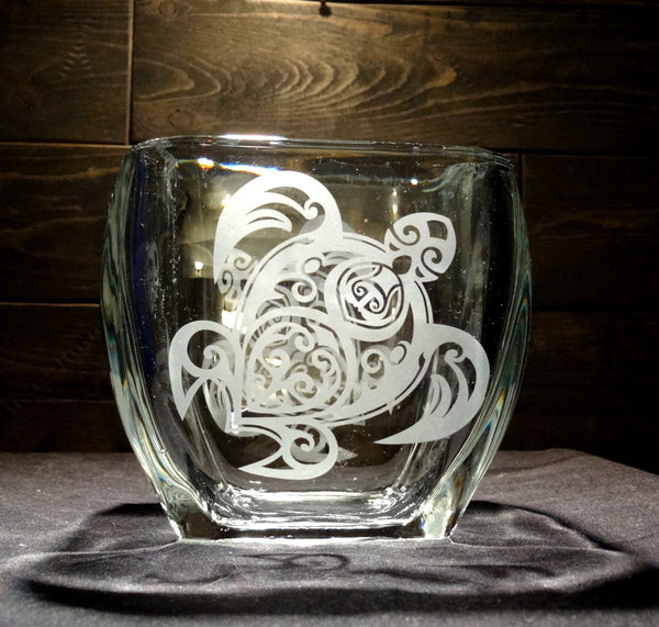 Square Etched Glass Candle Holder, Tribal Sea Turtle Design
