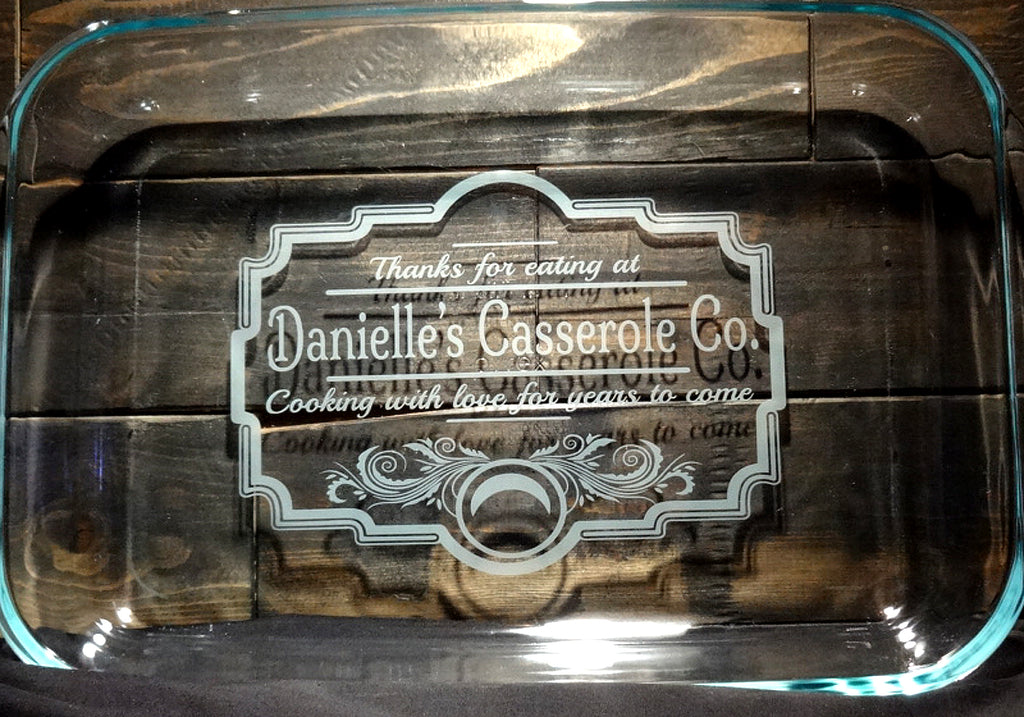 Custom Etched Glass Casserole Baking Dish and Pie Pan Set