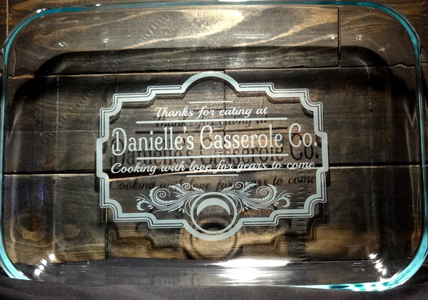 Custom Etched Glass Casserole Baking Dish, Vintage Kitchen Design