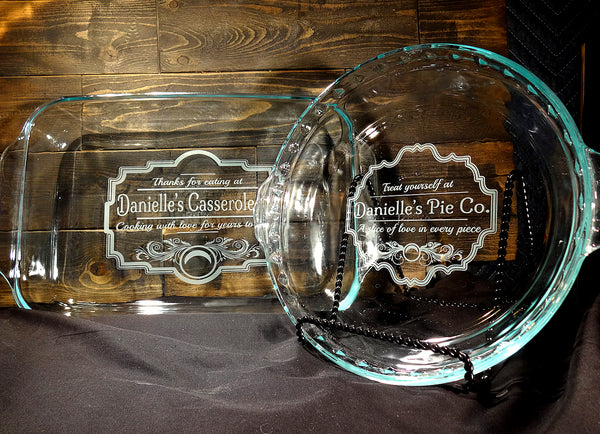 Custom Etched Glass Casserole Baking Dish and Pie Pan Set, Vintage Kitchen Design