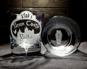Halloween Vampire Vodka Rocks Glass With Coffin Bottom
