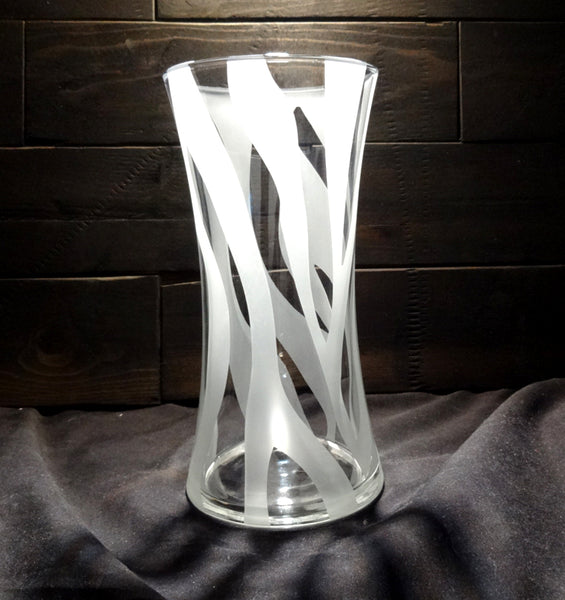 Etched Glass Concave Vase, Zebra Print Design