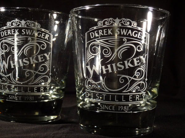 Personalized Etched Whiskey Rocks Glasses, Scroll Whiskey Distillery Label, Set of 2