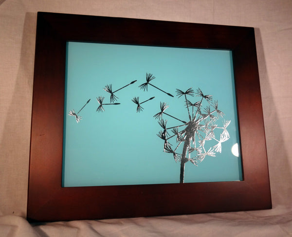"Silver Leaf Gilded Glass Dandelion In The Wind Decorative Frame, 8""x10"""