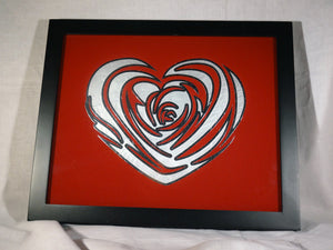 "Silver Leaf Gilded Glass Rose Heart Decorative Frame, 8""x10"""