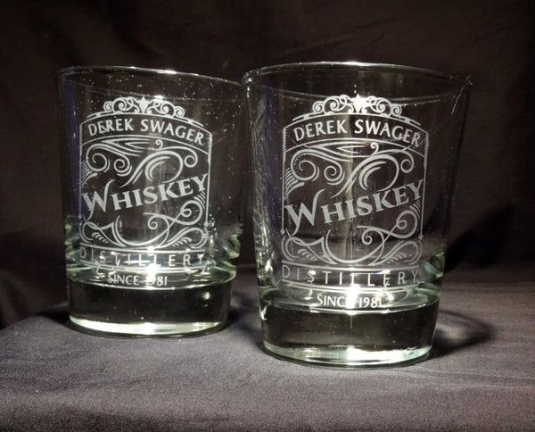 Personalized Etched Whiskey Rocks Glasses, Scroll Whiskey Distillery Label