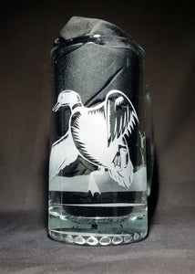 Duck Hunting Mug, Etched Glass Nature Scene Beer Mug