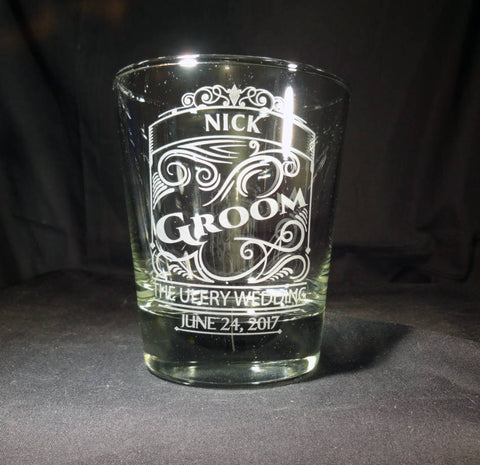 Personalized Groom Etched Rocks Whiskey Glass
