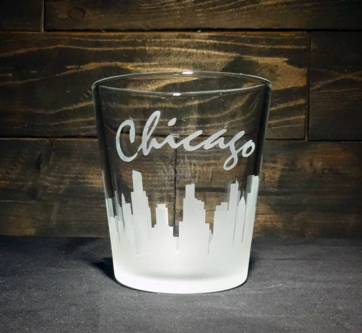 Chicago Skyline Whiskey Glass, Etched Rocks Glass, Double Old Fashioned